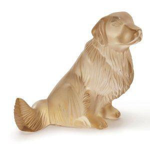 Lalique Crystal Golden Retriever Gold Luster Dog